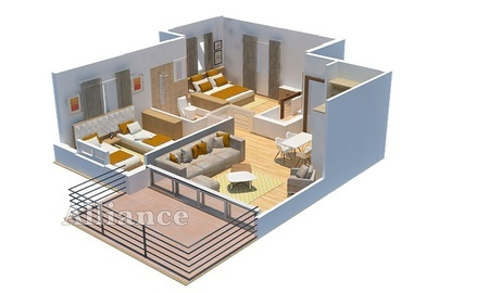plan of the apartment in Alsancak 2+1- Alliance