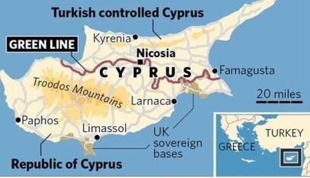 Карта Северного и Южного Кипра, буфферная зона